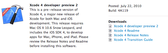 Apple Xcode 4 beta preview 2