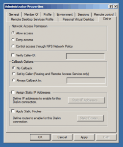 User Permission Dial-In Access