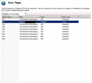 Error Page Settings