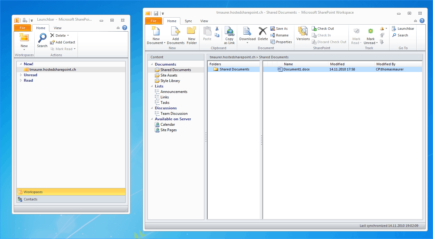 how to use sharepoint workspace 2010 with genotec hosted