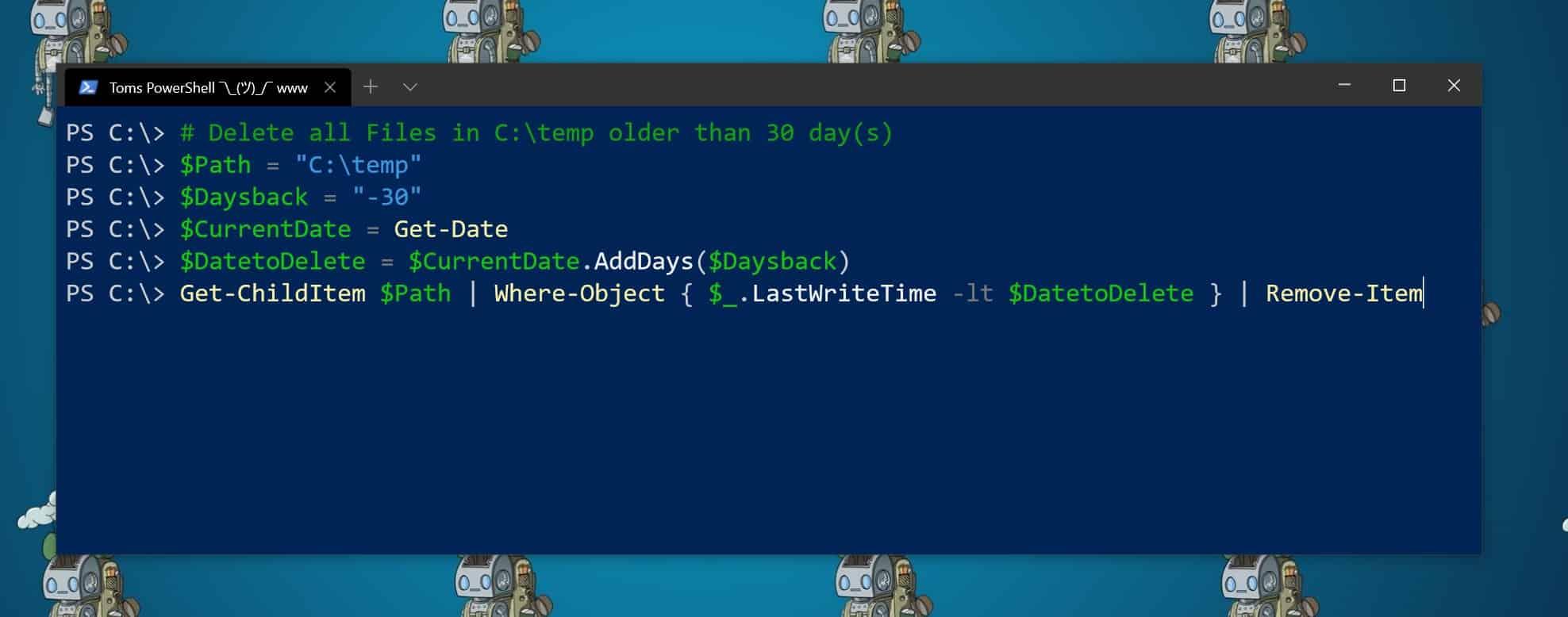 PowerShell Delete Files older than
