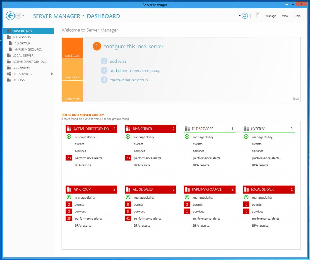 Windows Server 8 Server Manager Dashboard