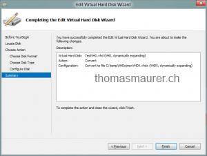 Convert VHD to VHDX Finish