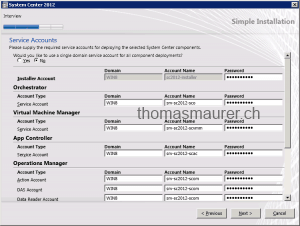 System Center Service Accounts