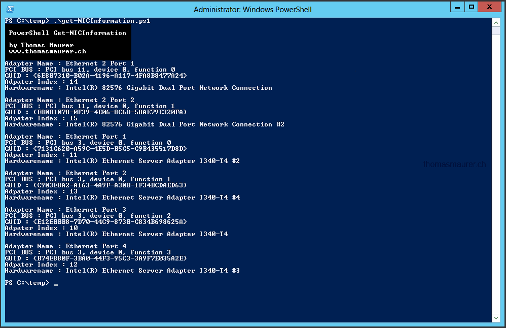 Windows Server 2012 NICs PCI Slot order