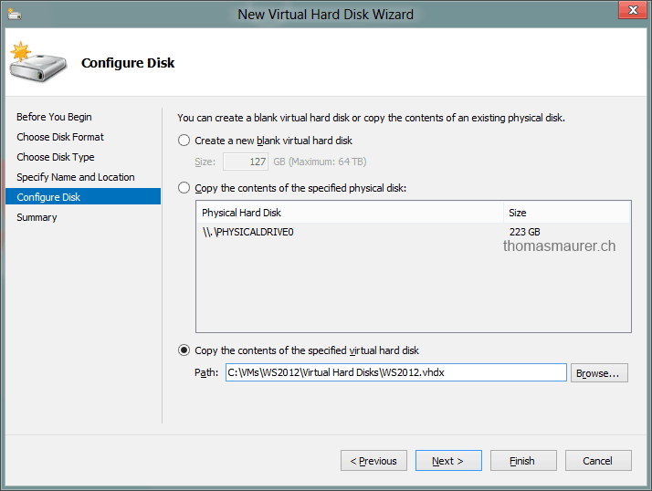 Windows Server 2012 Hyper-V - How to create a new VHD from a