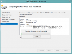 Creating the new virtual hard disk