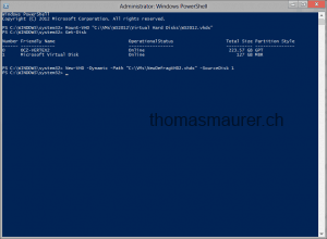 Create the new virtual hard disk from Source via PowerShell
