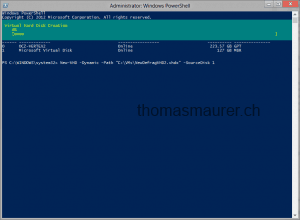 Create the new virtual hard disk via PowerShell