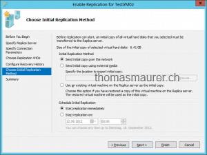 Enable VM Replication Replica Initial Replication