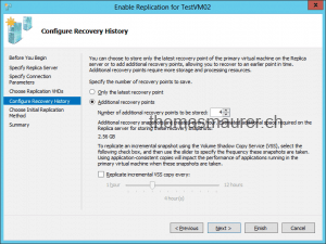 Enable VM Replication Replica Recovery History Settings