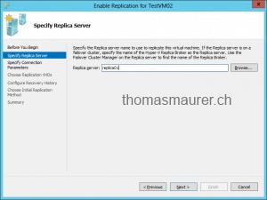 Enable VM Replication Replica Server