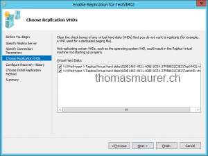 Enable VM Replication Replica VHDs