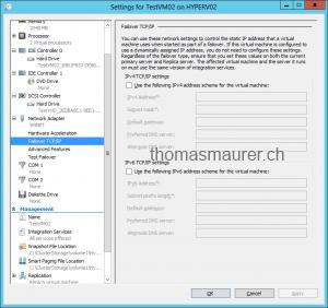 Enable VM Replication Target Failover TCP IP Settings