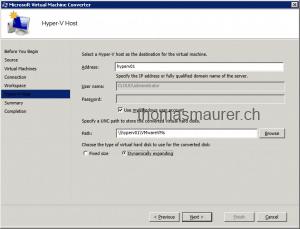 Microsoft Virtual Machine Converter Desination Hyper-V host