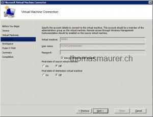 Microsoft Virtual Machine Converter Source Connect