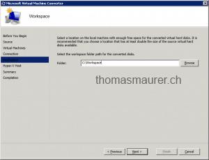Microsoft Virtual Machine Converter Workspace