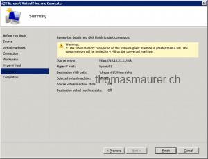 Microsoft Virtual Machine Converter summary