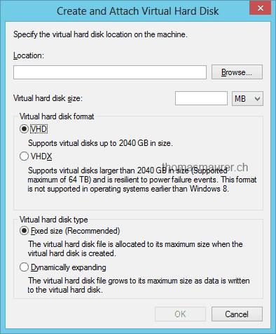 Windows Server 2012 Hyper-V: Virtual Disk VHD & VHDX recommendations