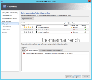 Windows network virtualization is not enabled on a host NIC available for placement