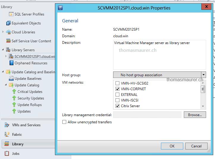 Scvmm Library Settings vm