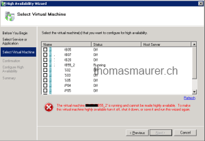 How to make an existing Hyper-V Virtual Machine Highly Available