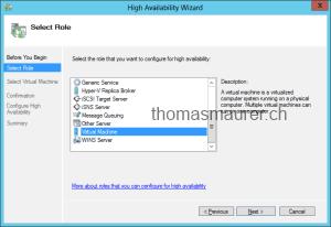 Windows Server 2012 Failover Cluster Manager High Availability Wizard