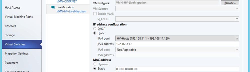 SCVMM Logical Switch Hyper-V Host vNIC Live Migration