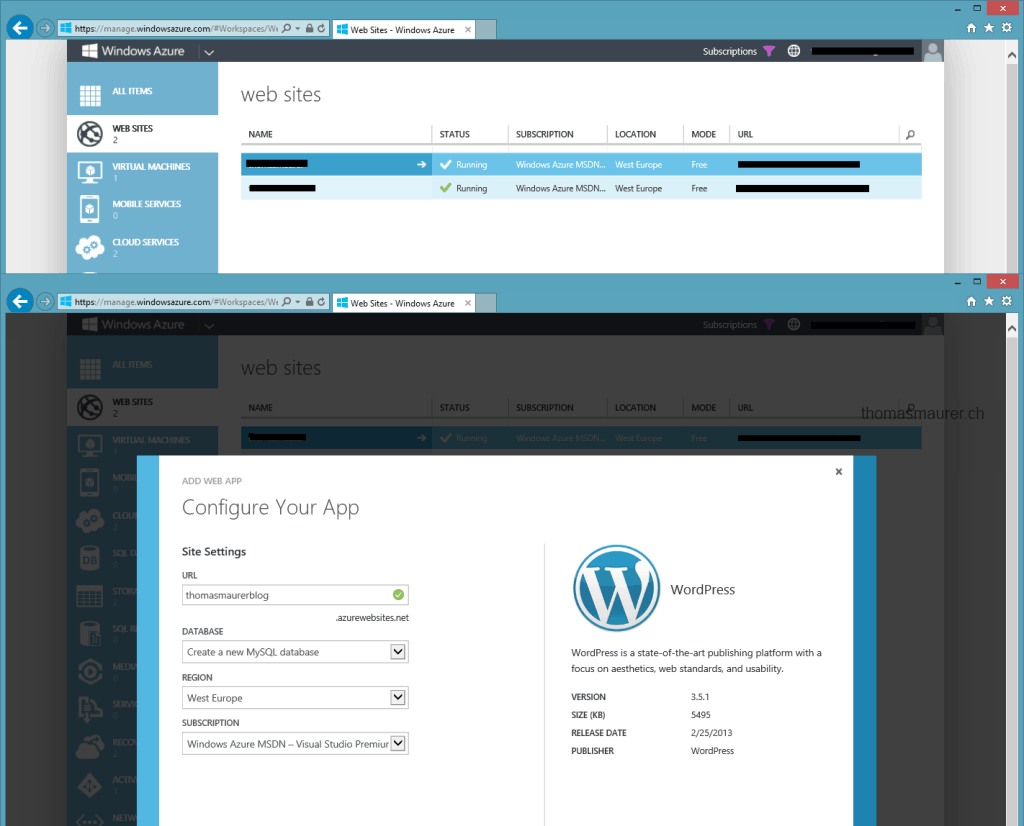 Windows Azure Website WordPress configuration