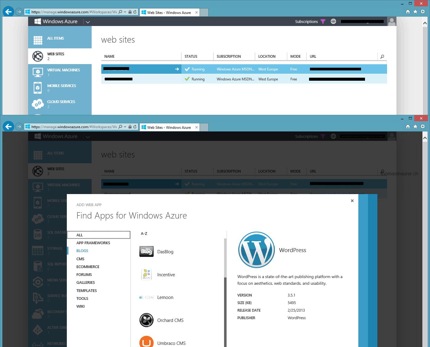 Migrate your Wordpress Blog to Microsoft Azure Web Apps - Thomas Maurer