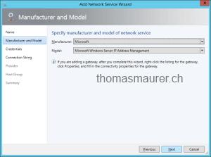 Choose Microsoft Windows Server IP Address Management