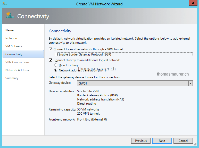 Hyper-V Network Virtualization Gateway VM Network Connectivity