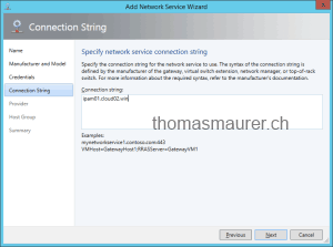 Specify network service connection string