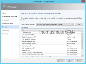 Validate the network service configuration provider
