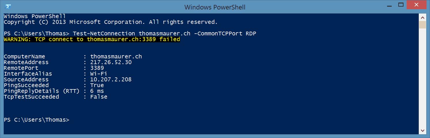 Test-NetConnection PowerShell Portscan