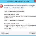 Hyper-V Gernal Access dinied error