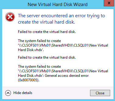 Hyper-V Gernal Access dinied error