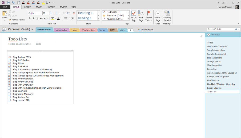 OneNote Todo Lists