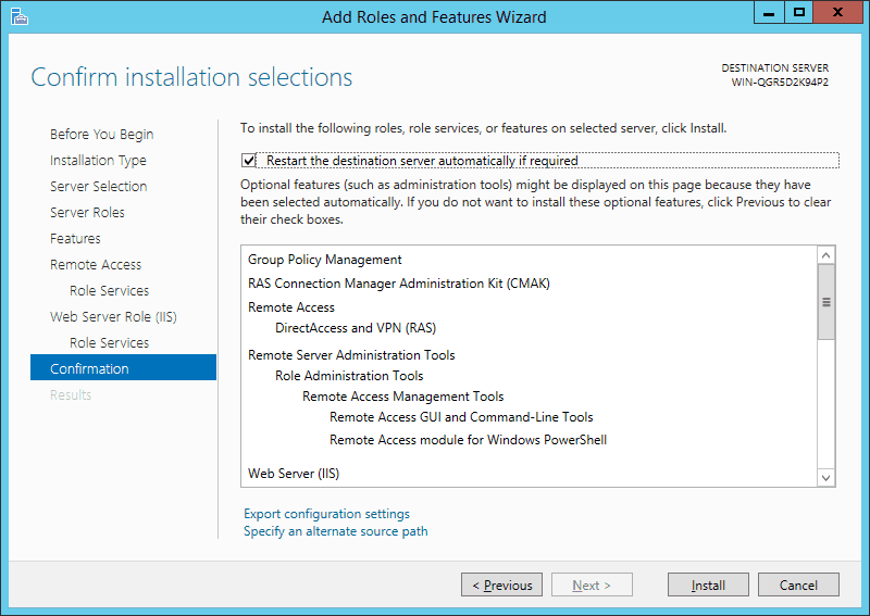 Remote Access Installtion Confirmation