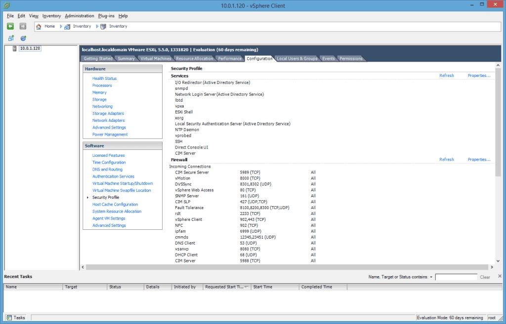 VMware ESXi vSphere Client Security Profile
