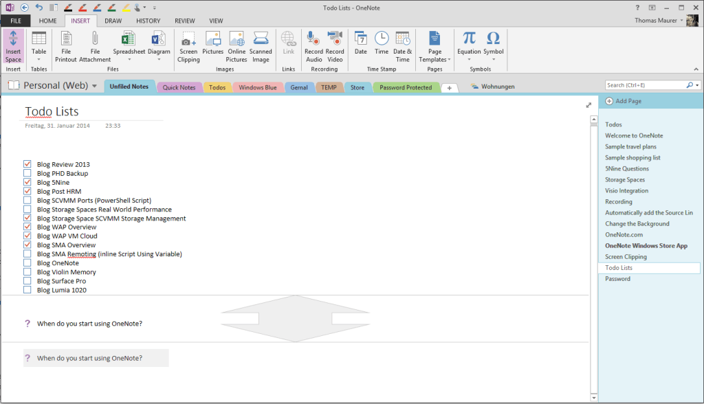 OneNote Insert Space