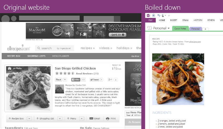 OneNote Recipe
