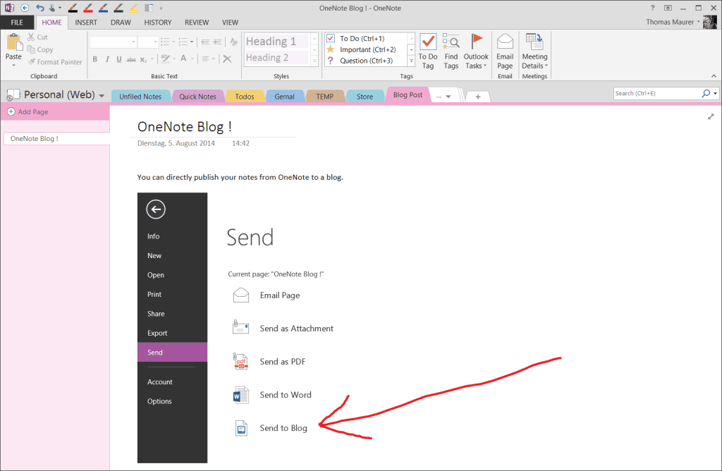 OneNote blog post publishing