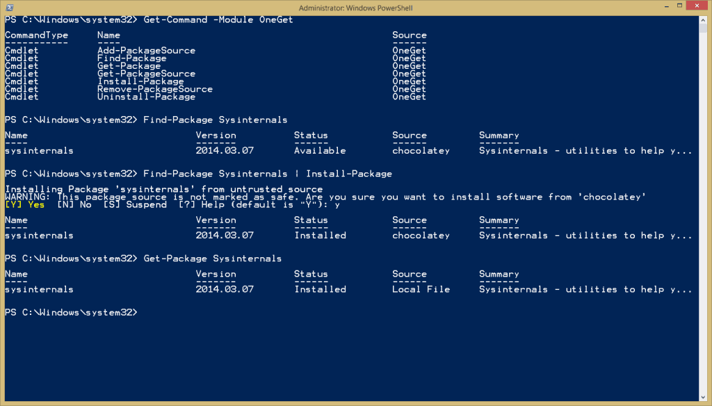 Install Sysinternals from PowerShell