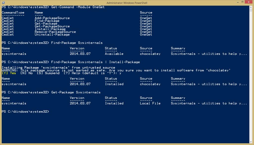 Install Sysinternals from PowerShell