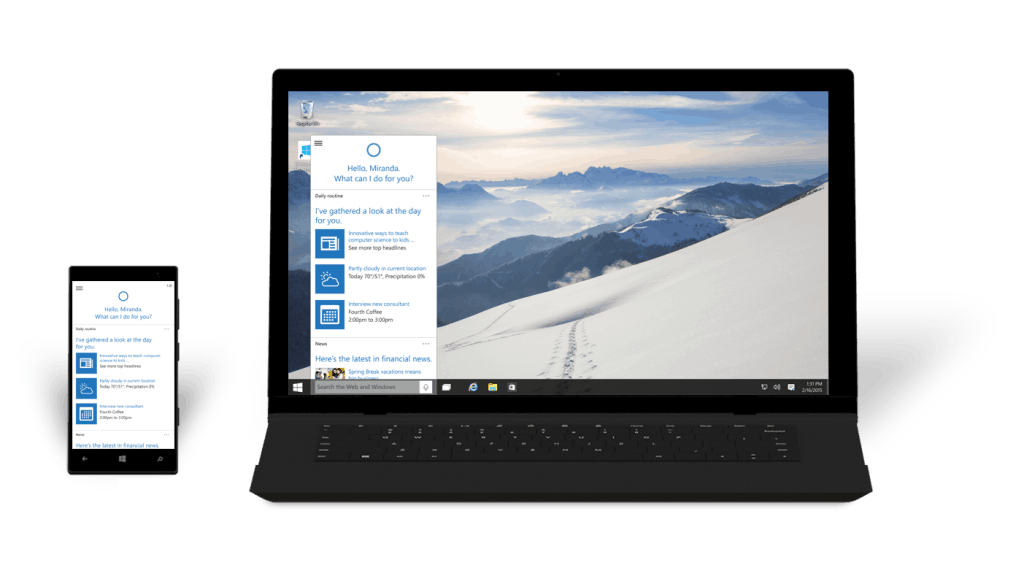 Windows 10 Phone Laptop Cortana