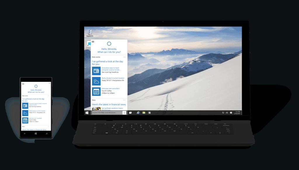 Windows 10 Phone Laptop Cortana