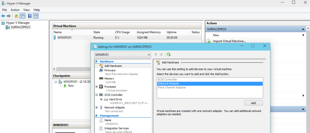 Hyper-V vNext Hot Add and Remove Virtual Network Adapters