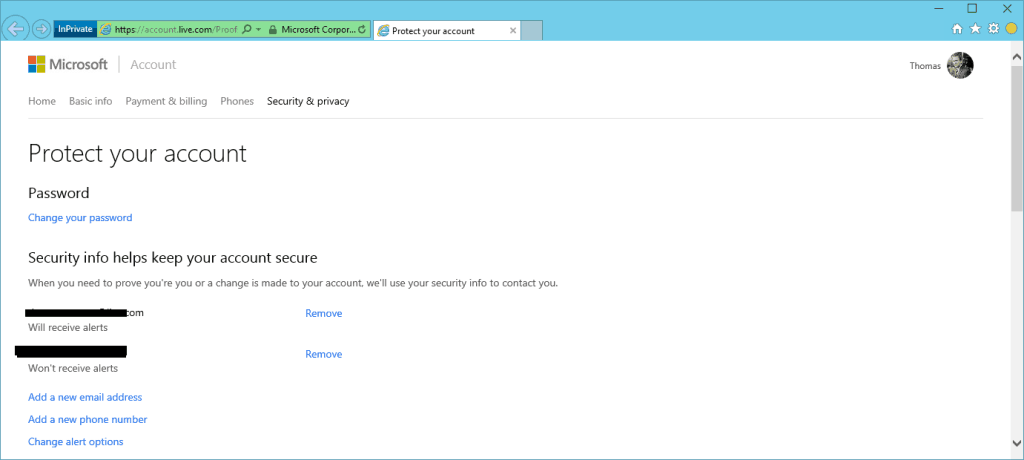 Microsoft Account Security Info