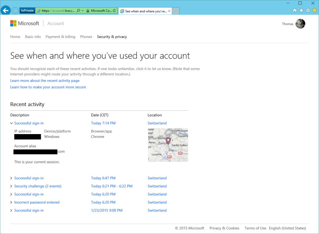 Microsoft Account Security Resent activity